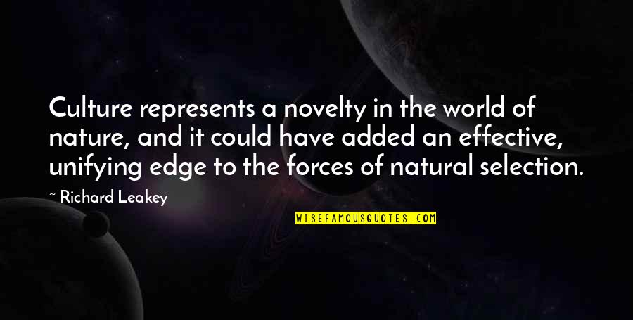 Edge Of The World Quotes By Richard Leakey: Culture represents a novelty in the world of