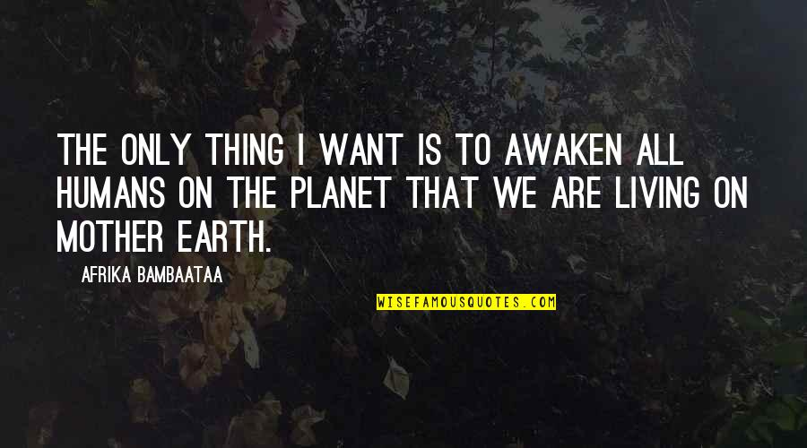 Edgewise Quotes By Afrika Bambaataa: The only thing I want is to awaken
