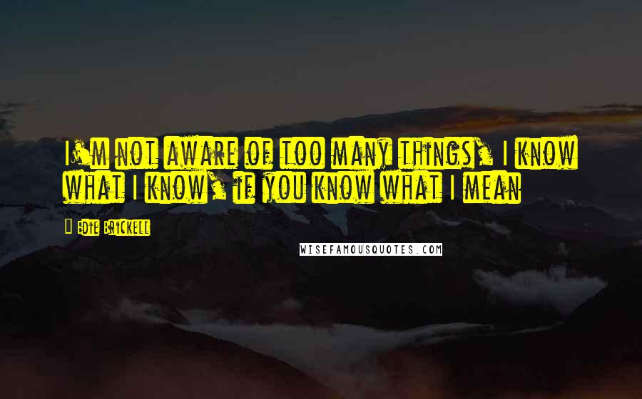 Edie Brickell quotes: I'm not aware of too many things, I know what I know, if you know what I mean