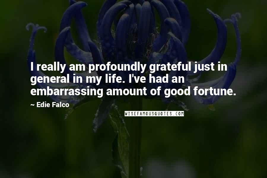 Edie Falco quotes: I really am profoundly grateful just in general in my life. I've had an embarrassing amount of good fortune.