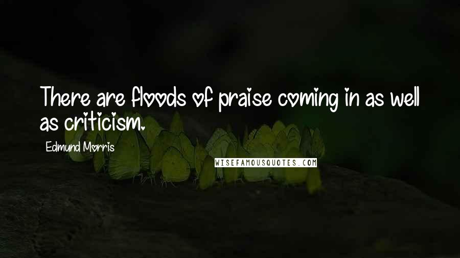Edmund Morris quotes: There are floods of praise coming in as well as criticism.