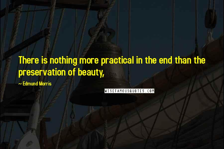 Edmund Morris quotes: There is nothing more practical in the end than the preservation of beauty,