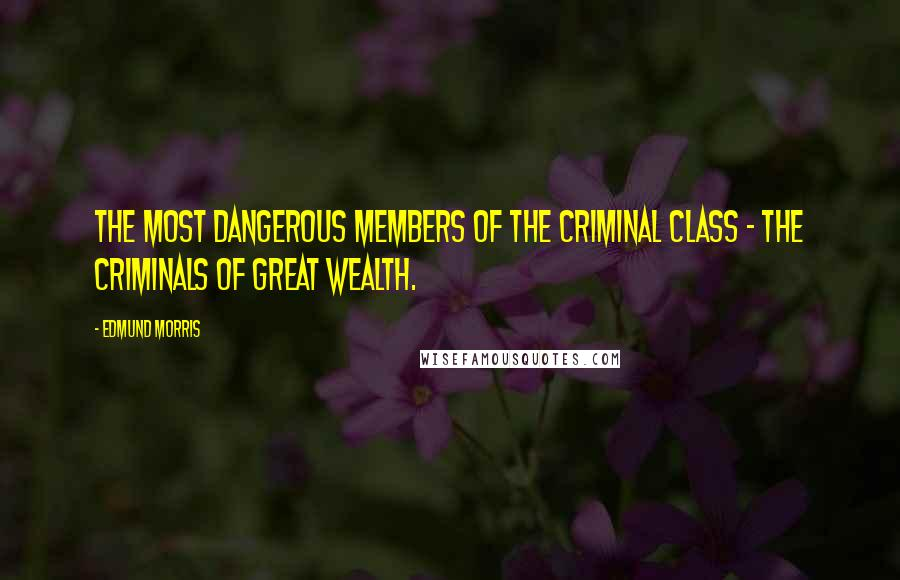 Edmund Morris quotes: the most dangerous members of the criminal class - the criminals of great wealth.