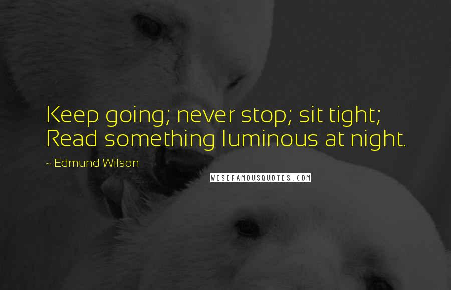 Edmund Wilson quotes: Keep going; never stop; sit tight; Read something luminous at night.