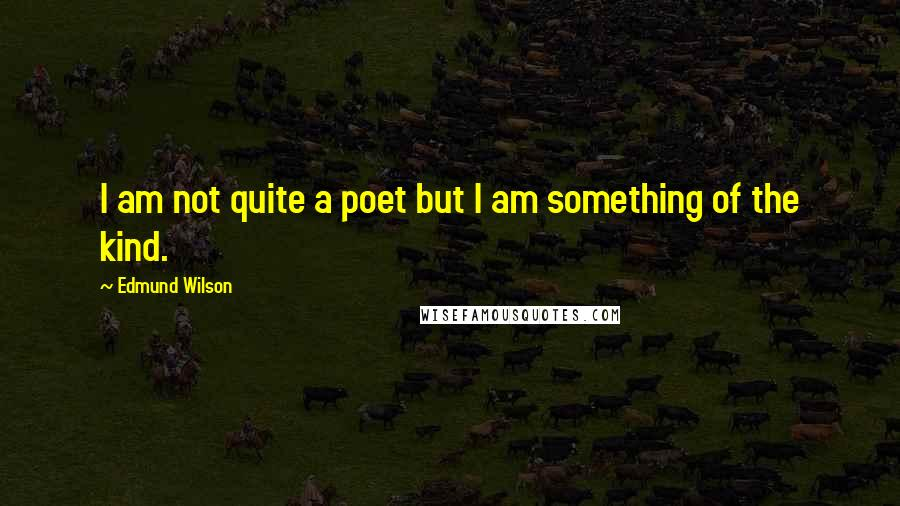 Edmund Wilson quotes: I am not quite a poet but I am something of the kind.