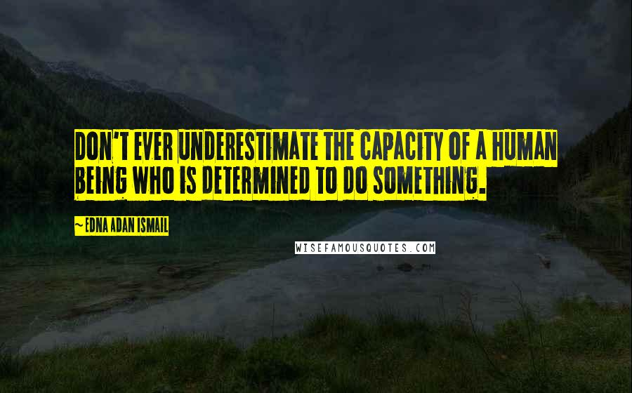 Edna Adan Ismail quotes: Don't ever underestimate the capacity of a human being who is determined to do something.