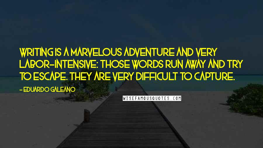 Eduardo Galeano quotes: Writing is a marvelous adventure and very labor-intensive: those words run away and try to escape. They are very difficult to capture.