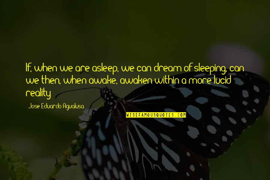 Eduardo Quotes By Jose Eduardo Agualusa: If, when we are asleep, we can dream