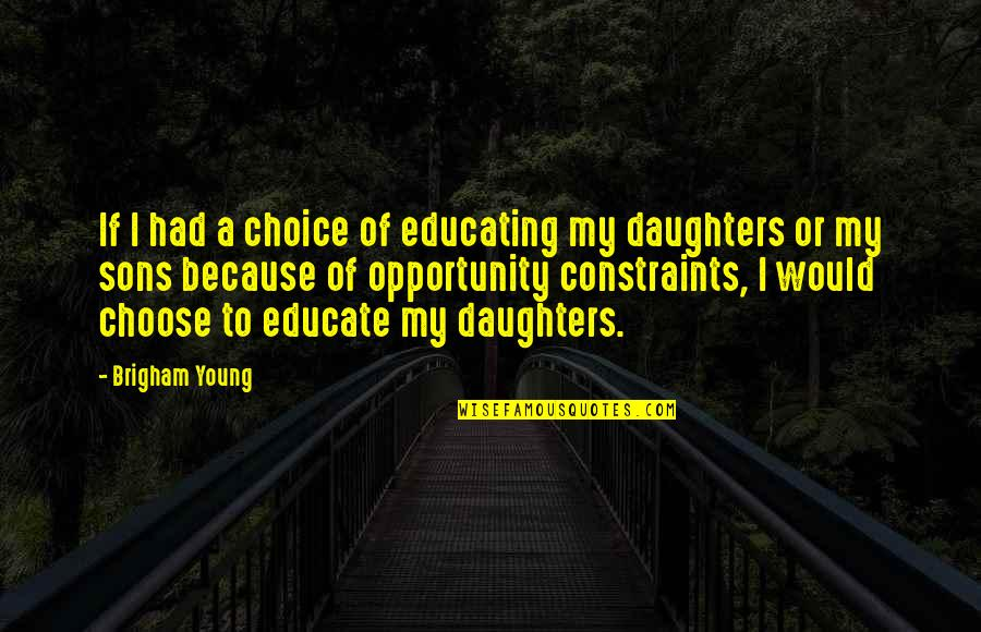 Educating The Young Quotes By Brigham Young: If I had a choice of educating my