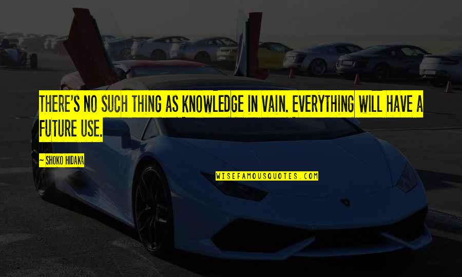 Education And The Future Quotes By Shoko Hidaka: There's no such thing as knowledge in vain.