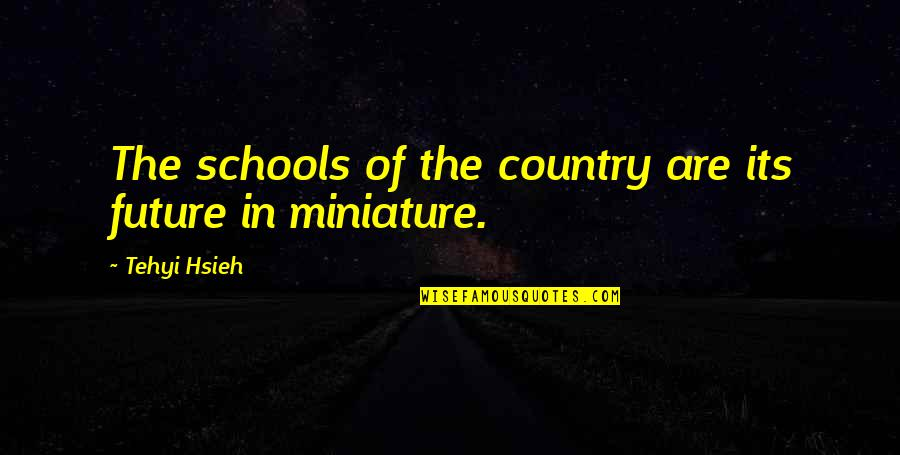 Education And The Future Quotes By Tehyi Hsieh: The schools of the country are its future