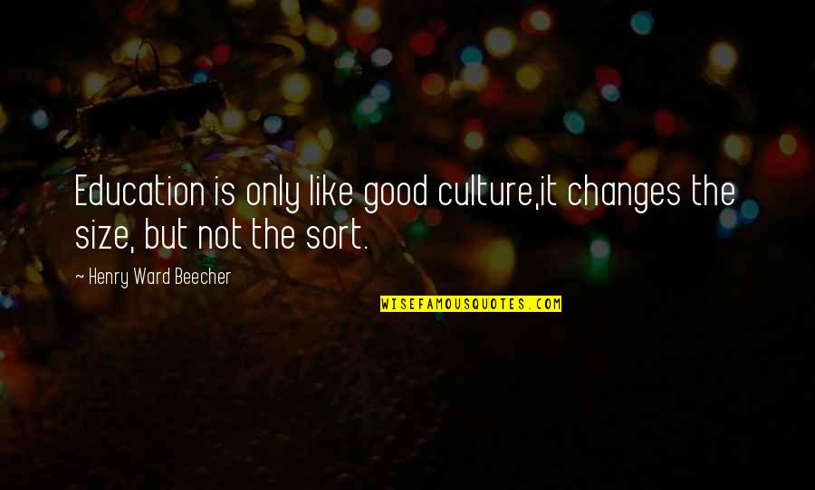 Education Is Good Quotes By Henry Ward Beecher: Education is only like good culture,it changes the