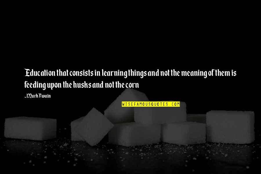 Education Twain Quotes By Mark Twain: Education that consists in learning things and not