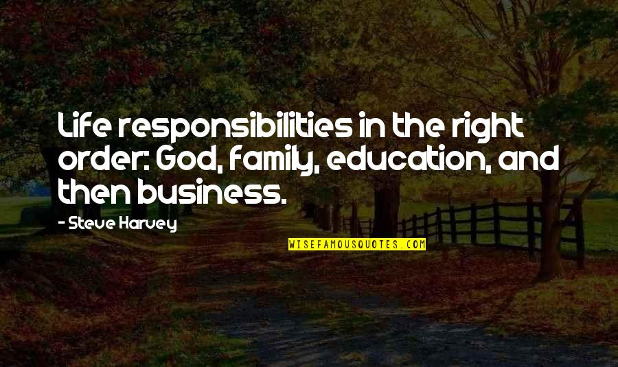Education Without God Quotes By Steve Harvey: Life responsibilities in the right order: God, family,