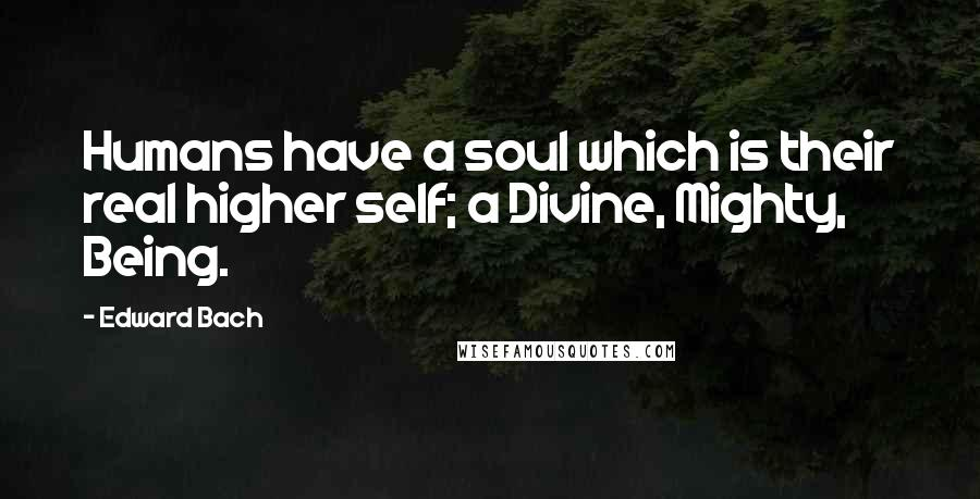 Edward Bach quotes: Humans have a soul which is their real higher self; a Divine, Mighty, Being.