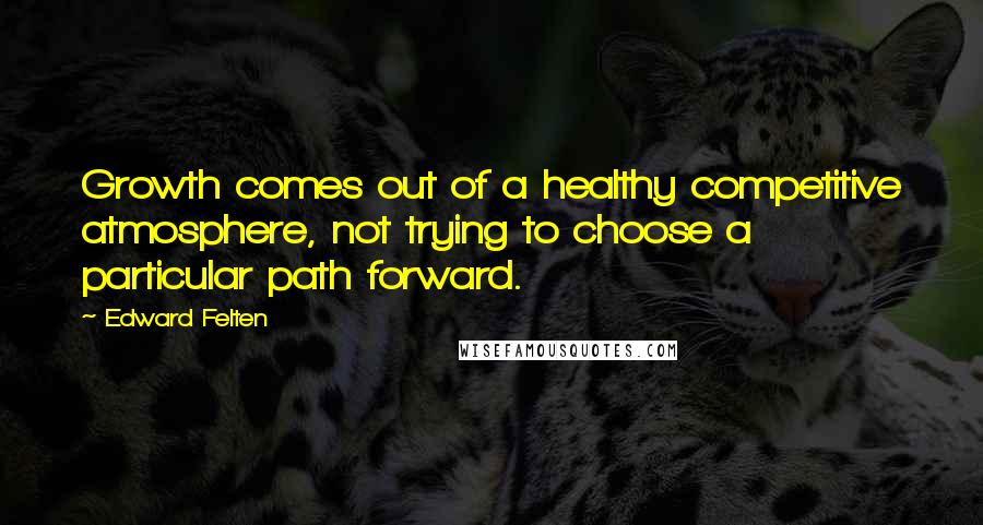 Edward Felten quotes: Growth comes out of a healthy competitive atmosphere, not trying to choose a particular path forward.