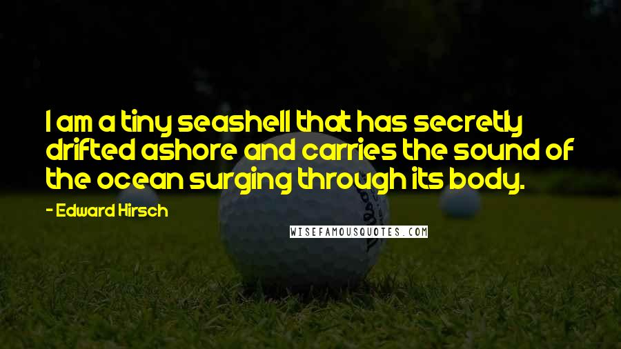 Edward Hirsch quotes: I am a tiny seashell that has secretly drifted ashore and carries the sound of the ocean surging through its body.