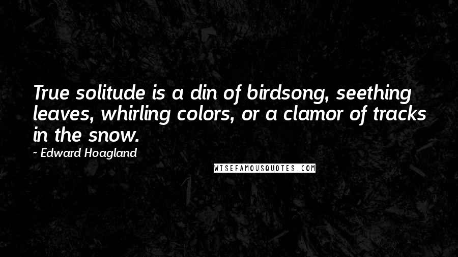 Edward Hoagland quotes: True solitude is a din of birdsong, seething leaves, whirling colors, or a clamor of tracks in the snow.