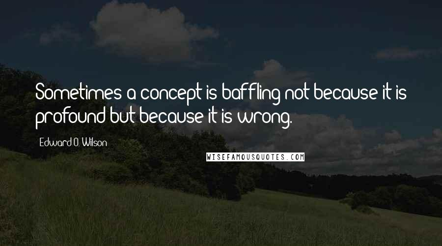 Edward O. Wilson quotes: Sometimes a concept is baffling not because it is profound but because it is wrong.