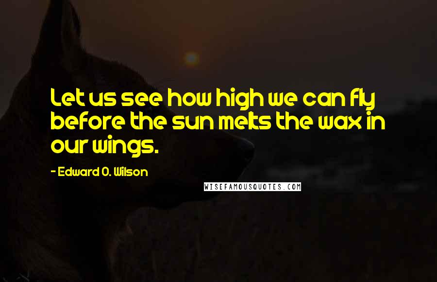 Edward O. Wilson quotes: Let us see how high we can fly before the sun melts the wax in our wings.