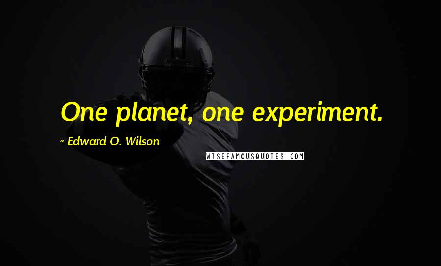 Edward O. Wilson quotes: One planet, one experiment.