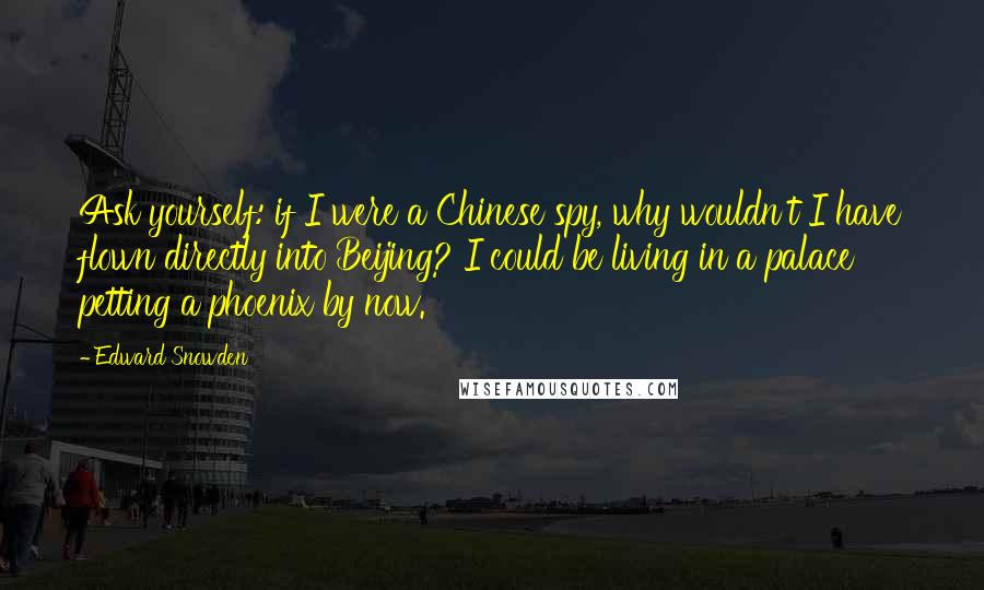 Edward Snowden quotes: Ask yourself: if I were a Chinese spy, why wouldn't I have flown directly into Beijing? I could be living in a palace petting a phoenix by now.