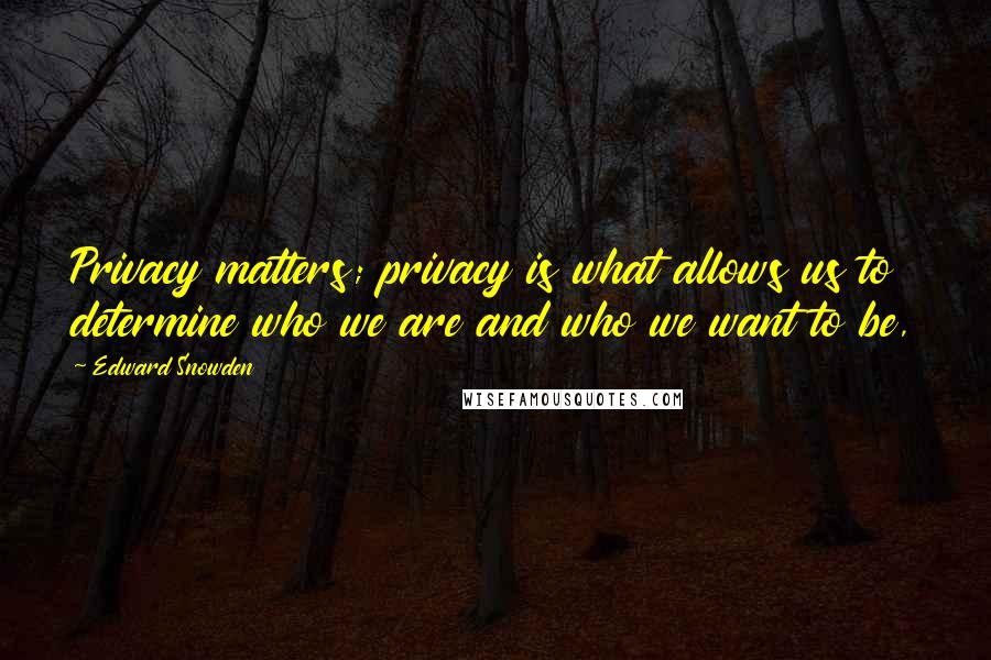 Edward Snowden quotes: Privacy matters; privacy is what allows us to determine who we are and who we want to be,