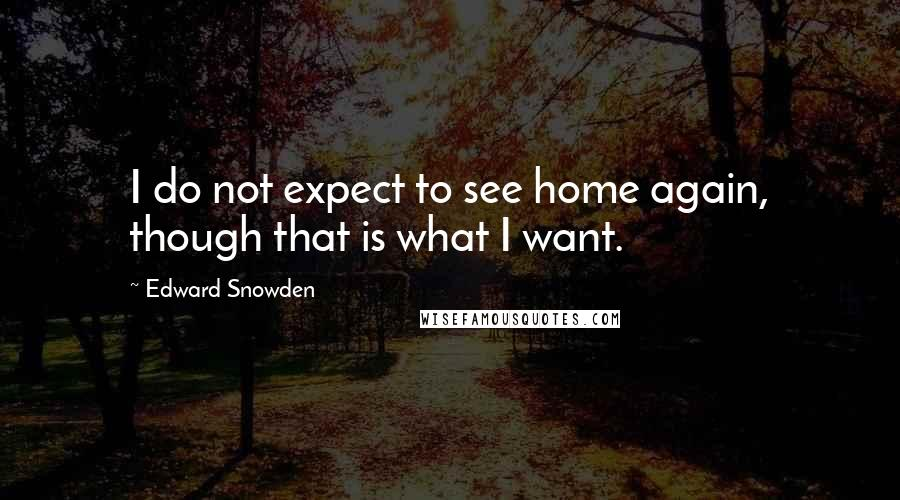 Edward Snowden quotes: I do not expect to see home again, though that is what I want.
