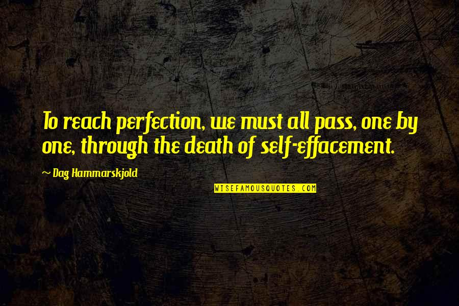 Effacement Quotes By Dag Hammarskjold: To reach perfection, we must all pass, one
