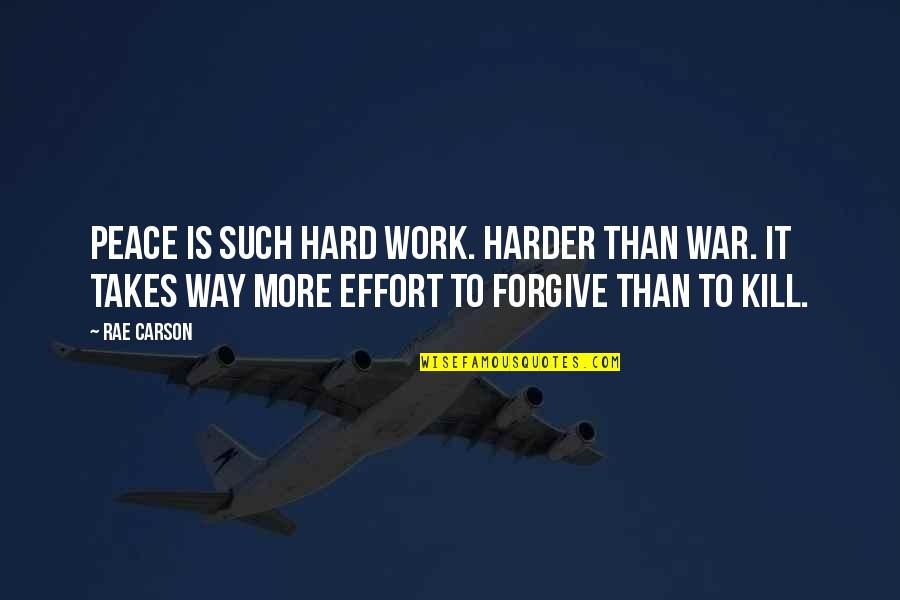 Effort And Hard Work Quotes By Rae Carson: Peace is such hard work. Harder than war.