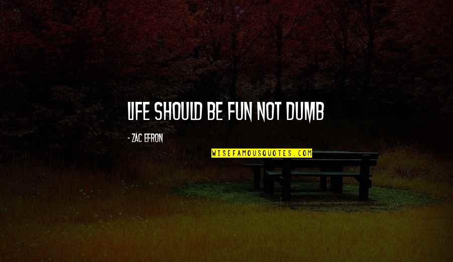 Efron Quotes By Zac Efron: Life should be fun not dumb