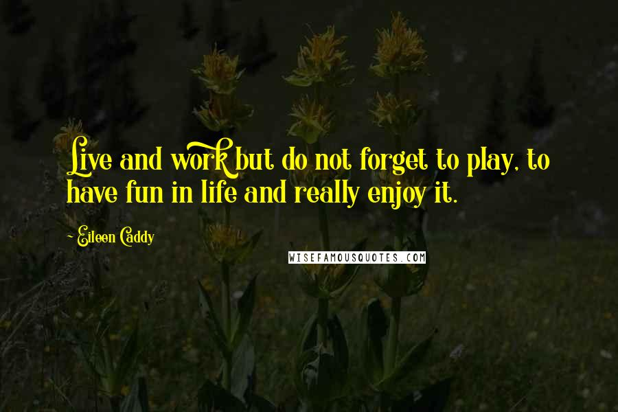 Eileen Caddy quotes: Live and work but do not forget to play, to have fun in life and really enjoy it.