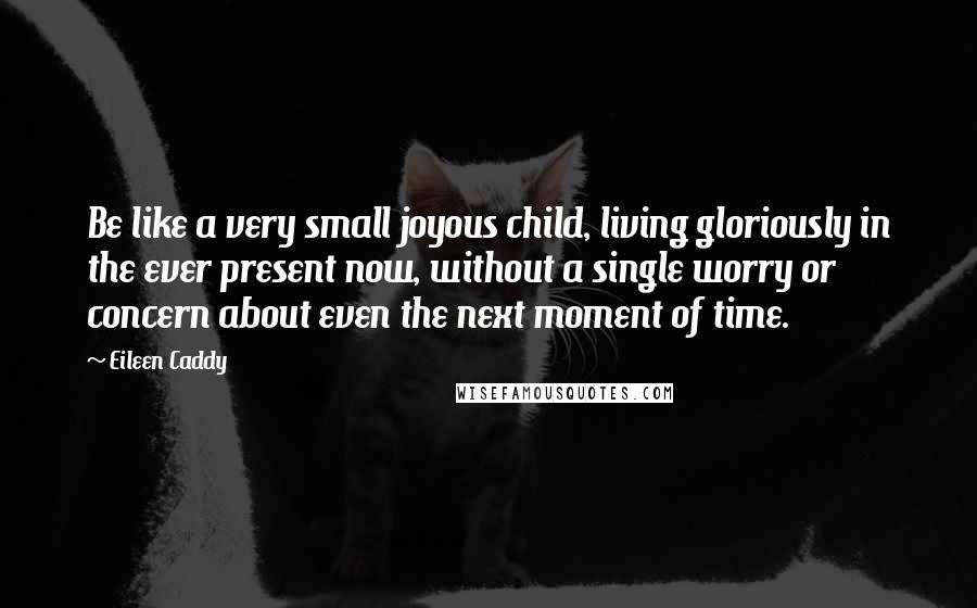 Eileen Caddy quotes: Be like a very small joyous child, living gloriously in the ever present now, without a single worry or concern about even the next moment of time.