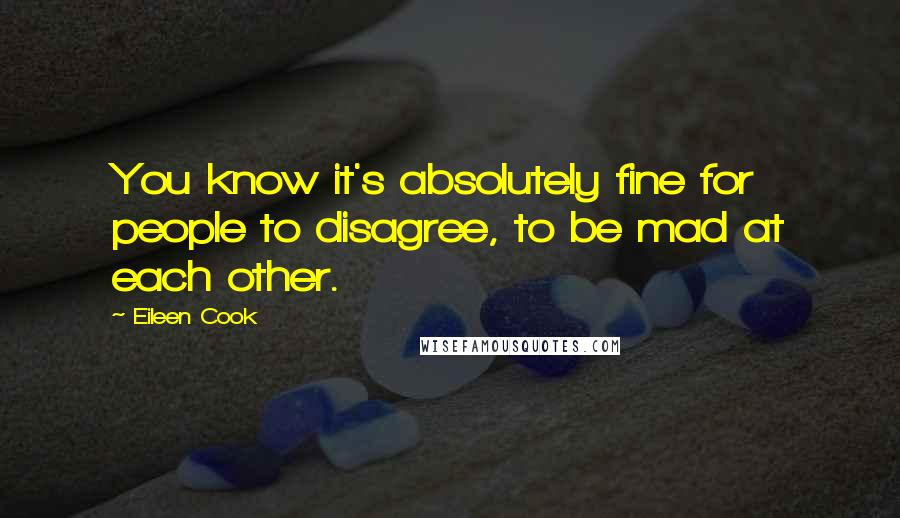 Eileen Cook quotes: You know it's absolutely fine for people to disagree, to be mad at each other.