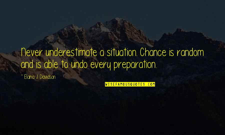 Elaina Quotes By Elaina J. Davidson: Never underestimate a situation. Chance is random and