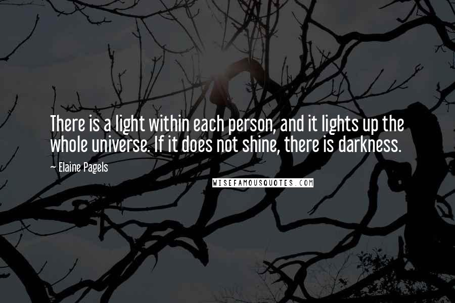 Elaine Pagels quotes: There is a light within each person, and it lights up the whole universe. If it does not shine, there is darkness.