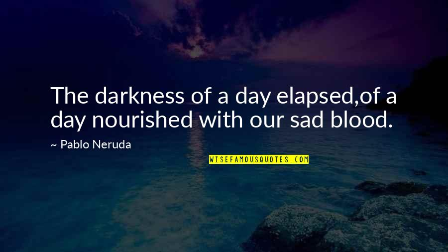 Elapsed Quotes By Pablo Neruda: The darkness of a day elapsed,of a day