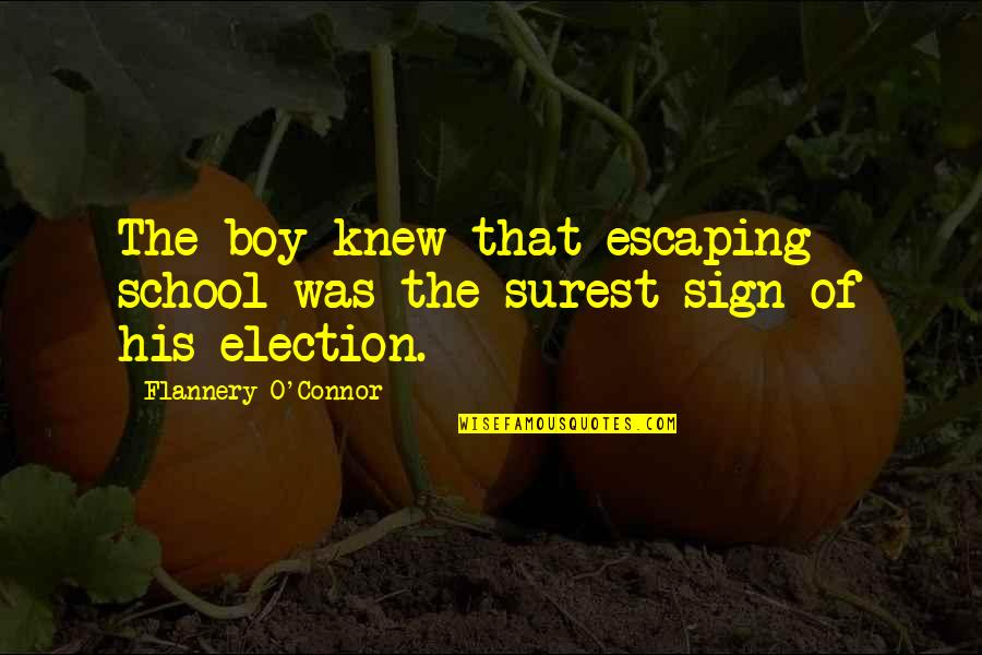 Election In School Quotes By Flannery O'Connor: The boy knew that escaping school was the