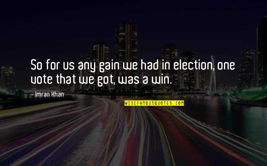 Election Win Quotes By Imran Khan: So for us any gain we had in