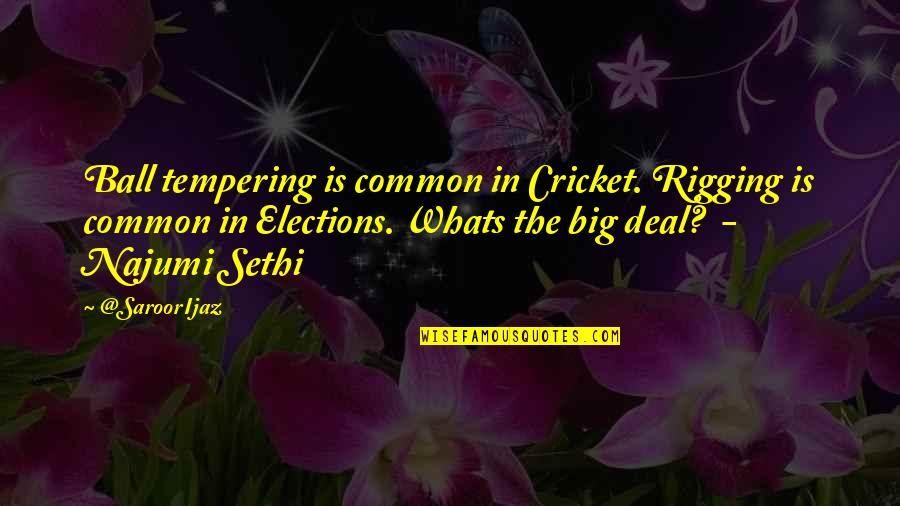 Elections In Pakistan Quotes By @SaroorIjaz: Ball tempering is common in Cricket. Rigging is
