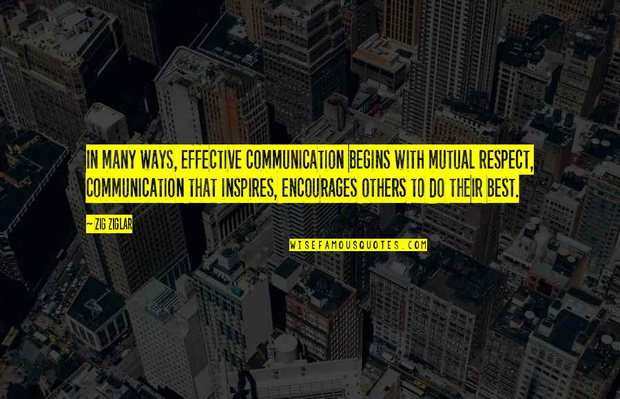 Electrical Power Engineering Quotes By Zig Ziglar: In many ways, effective communication begins with mutual