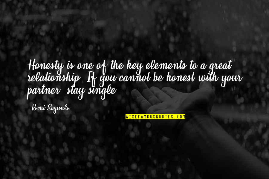 Elements Of Life Quotes By Kemi Sogunle: Honesty is one of the key elements to