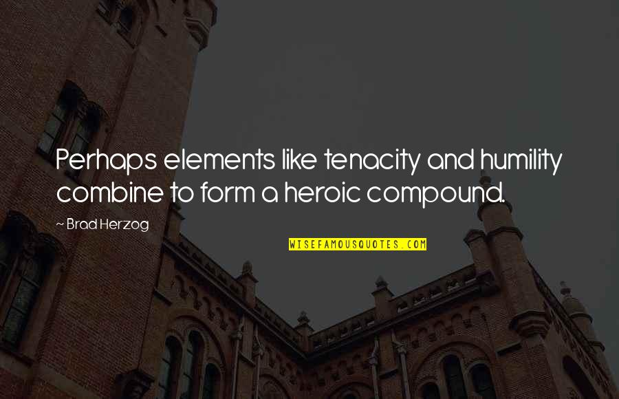 Elements Quotes By Brad Herzog: Perhaps elements like tenacity and humility combine to