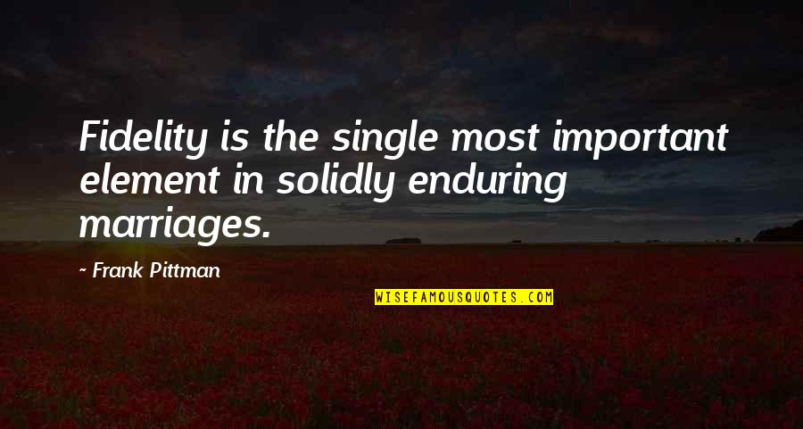 Elements Quotes By Frank Pittman: Fidelity is the single most important element in