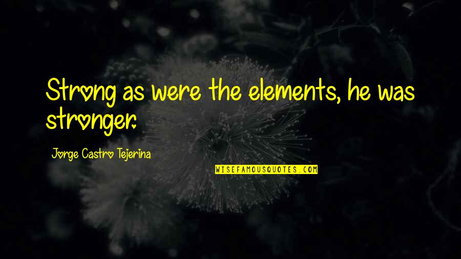 Elements Quotes By Jorge Castro Tejerina: Strong as were the elements, he was stronger.