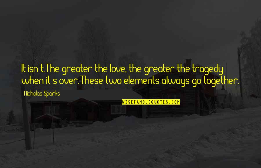 Elements Quotes By Nicholas Sparks: It isn't. The greater the love, the greater
