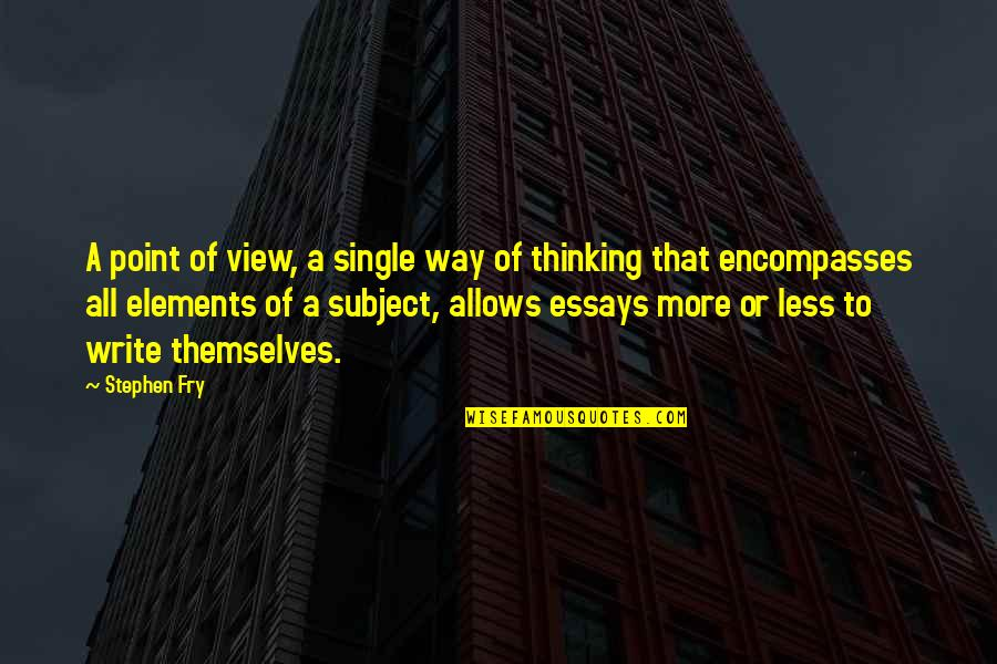 Elements Quotes By Stephen Fry: A point of view, a single way of