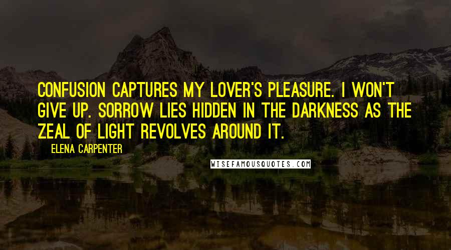Elena Carpenter quotes: confusion captures my lover's pleasure. I won't give up. Sorrow lies hidden in the darkness as the zeal of light revolves around it.