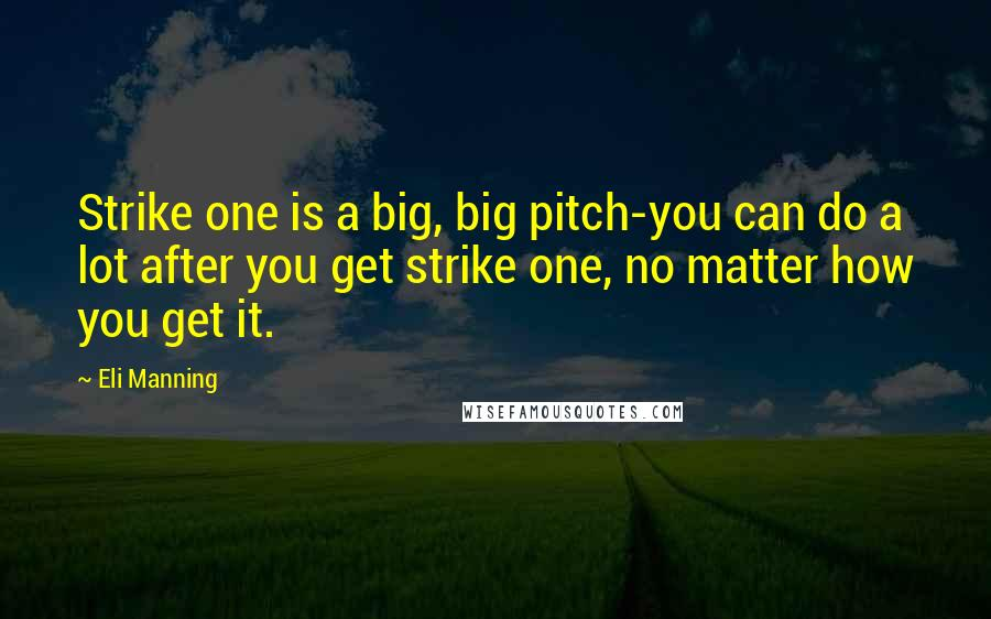 Eli Manning quotes: Strike one is a big, big pitch-you can do a lot after you get strike one, no matter how you get it.