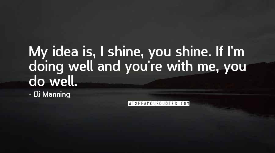 Eli Manning quotes: My idea is, I shine, you shine. If I'm doing well and you're with me, you do well.